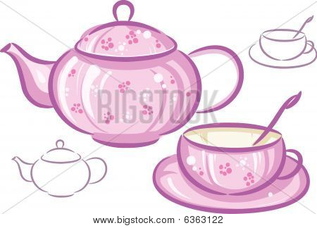 Pink cup and teapot