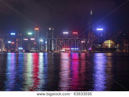 View Of night Hong Kong Island From Kowloon