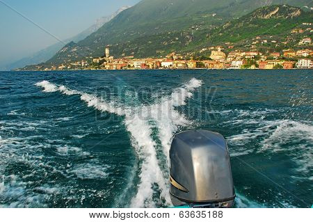 Action Speedboating On Lake Garda