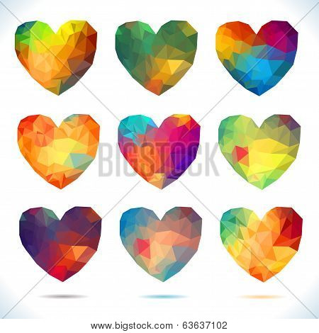 Heart set Vector retro hearts made from color triangles