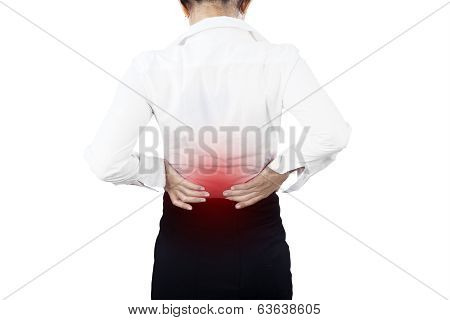 Businesswoman Having Back Pain Isolated