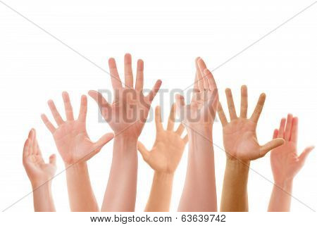 Raised up hands of many people