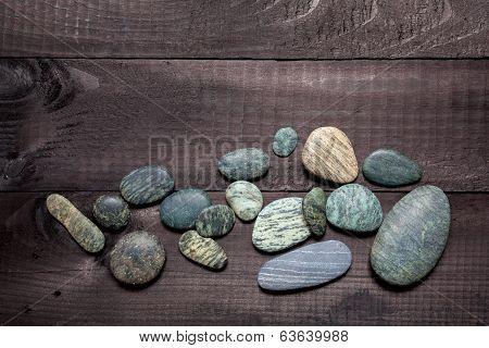 Pebbles On Wood