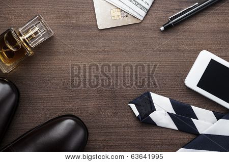 men accessories on the table