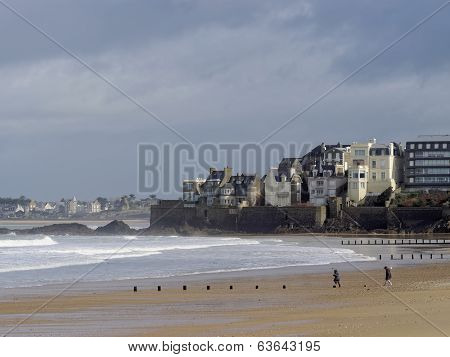 Coast North Of Saint Malo At Low Tide, France