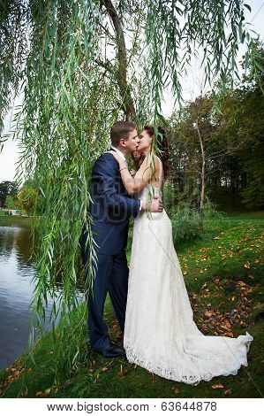 Romantic Kiss Bride And Groom On Beautiful Nature