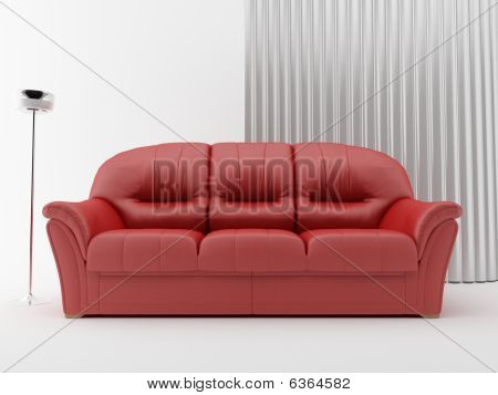 Couch on blank wall