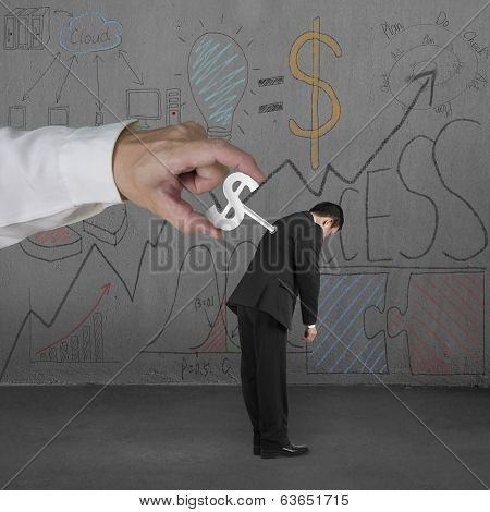 Winding Money Winder On Man With Business Doodles Background