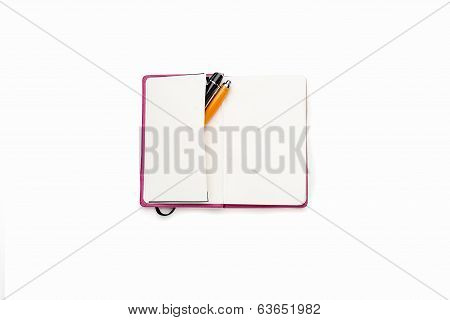 Blank Open Diary With Two Pens In Side Pocket, Isolated On White