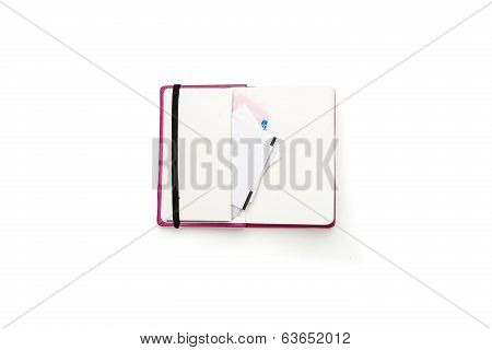 Blank Open Diary With Side Pocket And Slips Of Paper, Isolated On White