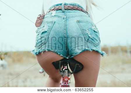 Sexual, Beautiful,  Hipster  Girl By Bicycle