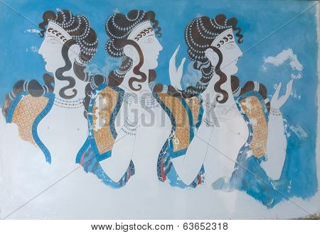 Aged Fresco Of Three Women Profiles
