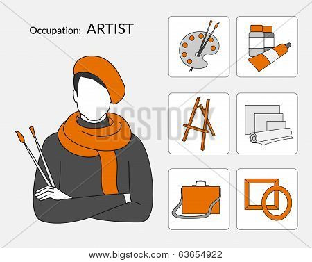 Vector set of icons for artist