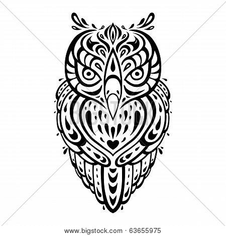 Decorative Owl. Ethnic pattern.