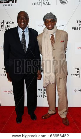 NEW YORK-APR 17: Former NBA players Cazzie Russell (L) and Dr. Dick Barnett attend the 'When the Garden Was Eden' premiere at the BMCC Tribeca PAC on April 17, 2014 in New York City.