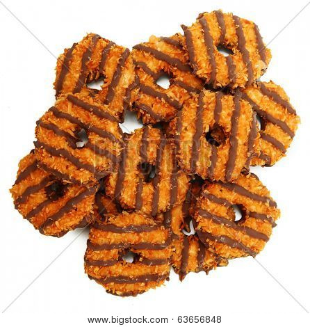 Chocolate Coconut Cookie Isolated Over White High Angle View