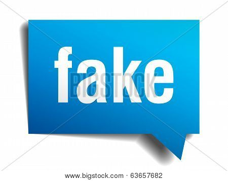 Fake Blue 3D Realistic Paper Speech Bubble Isolated On White