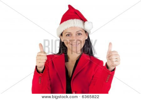 Beautiful Girl With With Santa Claus Hat Accepting