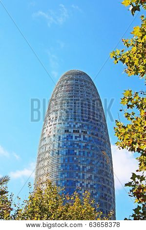 Torre Agbar In Technological District In Barcelona