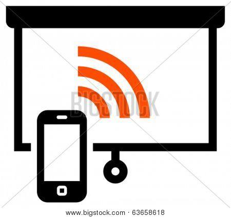 Presentation remote control vector icon