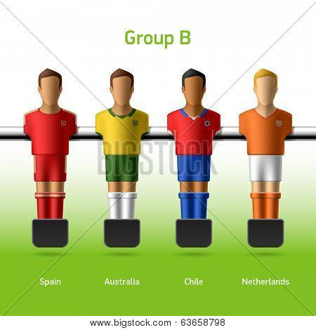 Table football / foosball players. Group B - Spain, Australia, Chile, Netherlands. Vector.