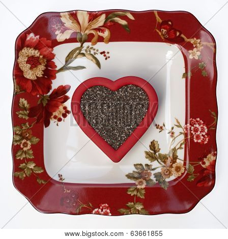 Floral Plate with Chea Seed Heart