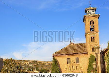Church Iglesia Of Santa Anna Rio Darro Wall Granada Andalusia Spain