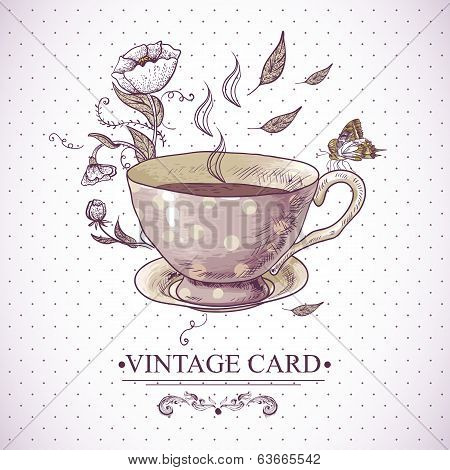 Vintage Card with Cup, Flowers and Butterfly