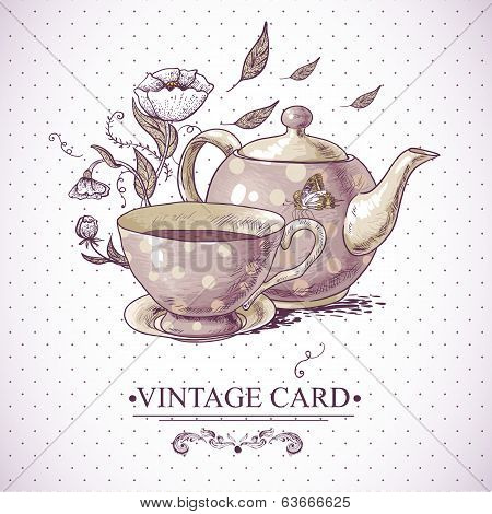 Vintage Card with Cup, Pot, Flowers and Butterfly