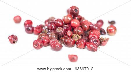 Isolated Pink Peppercorns
