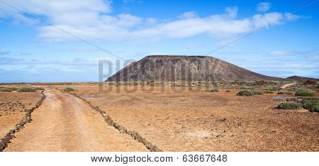 Trail And Volcano On Los Lobos In The Canary Islands