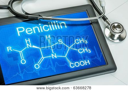 Tablet with the chemical formula of penicillin