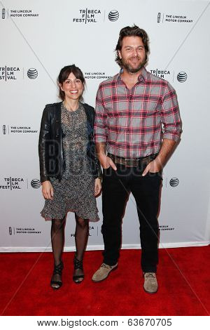NEW YORK-APR 18: Writers Jessica Goldberg (L) and Justin Shilton attend the
