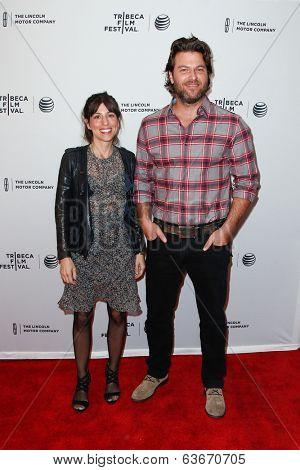 NEW YORK-APR 18: Writers Jessica Goldberg (L) and Justin Shilton attend the