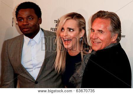 NEW YORK-APR 18: (L-R) Actors Derek Luke, Katie Nehra and Don Johnson attend the