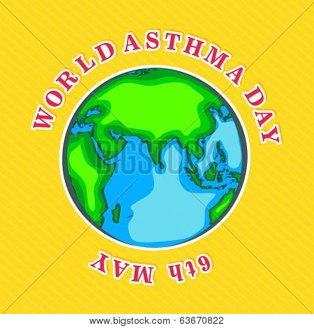 World Asthma Day concept with globe and stylish text on yellow background.