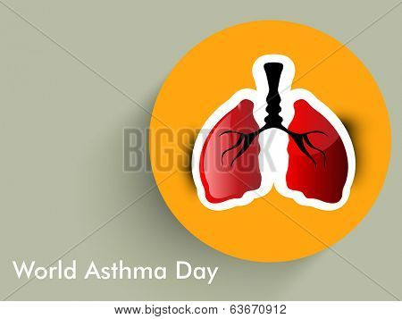 World Asthma Day sticker, tag or label with human lungs on green background.
