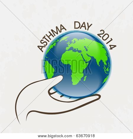 World Asthma Day concept with human hand holding a globe and stylish text on grey background.