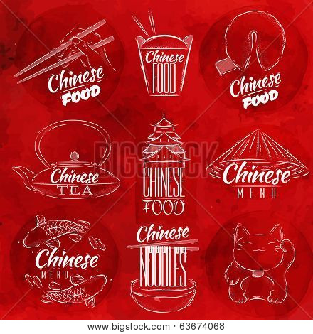 Chinese food symbols red