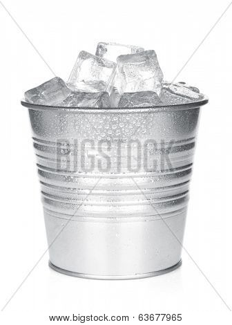 Bucket with ice cubes. Isolated on white background