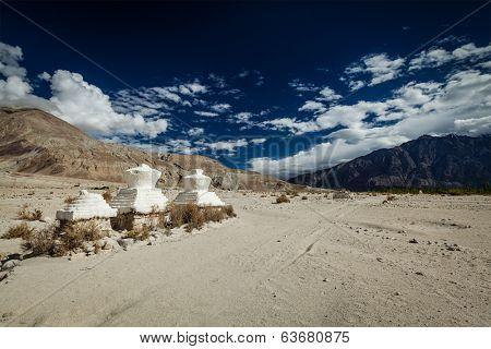Chortens (Tibetan Buddhism stupa) in Himalayas. Nubra valley, Ladakh, India