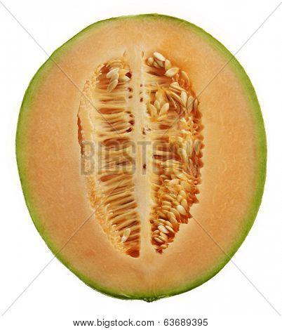 Half Of An Orange Honeydew Melon Isolated On White Background