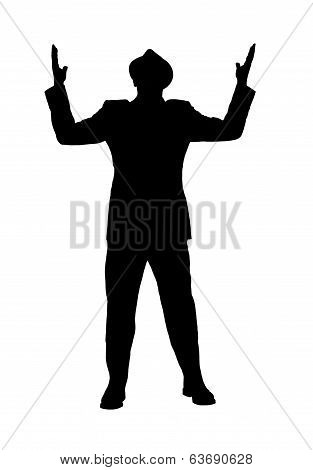 Silhouette of a Man With Arms Raised as if Saying Why?