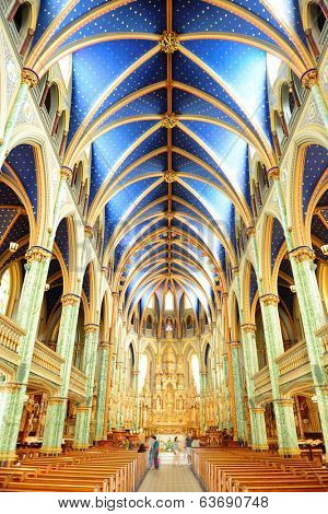 Ottawa, CANADA - SEP 8: Notre-Dame Cathedral Basilica interior on September 8, 2012 in Ottawa, Canada. It is the oldest and largest church in Ottawa and was designated a National Historic Site