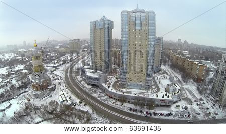RUSSIA, SAMARA - MAY 6, 2014: Aerial view to residential complex Rook in the winter.