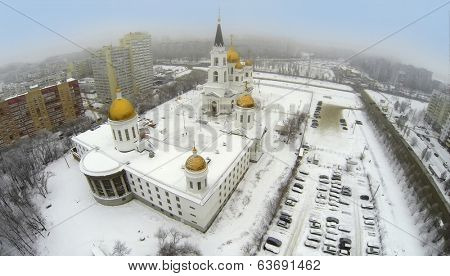 RUSSIA, SAMARA - JAN 8, 2014: Aerial view to Cathedral Apostles Cyril and Methodius with car parking.