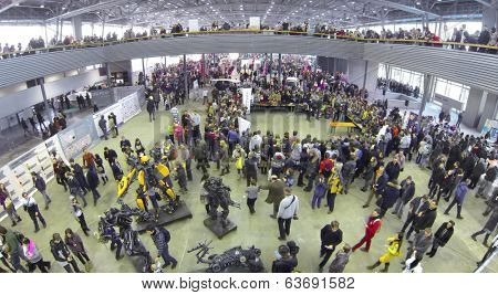 RUSSIA, MOSCOW - JAN 25, 2014: Aerial view to people on Geek Picnic. Is largest European festival of modern technology, science and art.