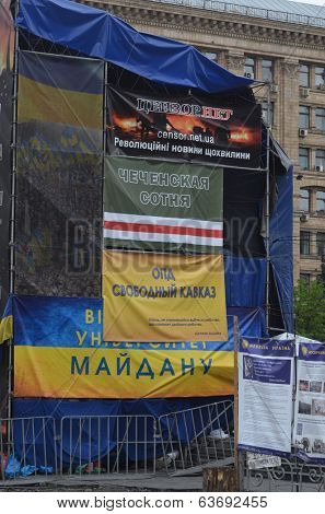 KIEV, UKRAINE - APR 19, 2014: Downtown.Propaganda poster against Russian invasion. Putsch of Junta in Kiev. Kiev.April 19, 2014 Kiev, Ukraine