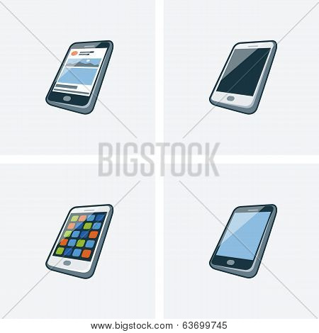 Set Of Four Smartphone Icons