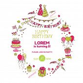 Birthday Party Invitation Card - with place for your text - in vector
